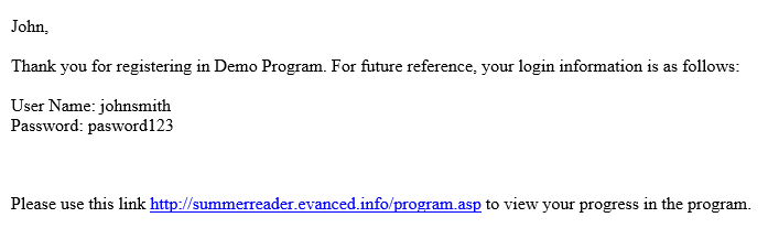 Summer Reader Confirmation Email