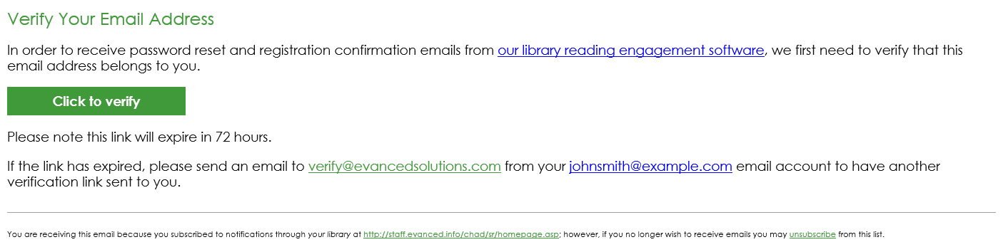 Summer Reader Verification Email